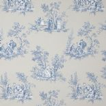 Fontainebleau Fabric Scene Reina Blanc FONT81726505 or FONT 8172 65 05 By Casadeco
